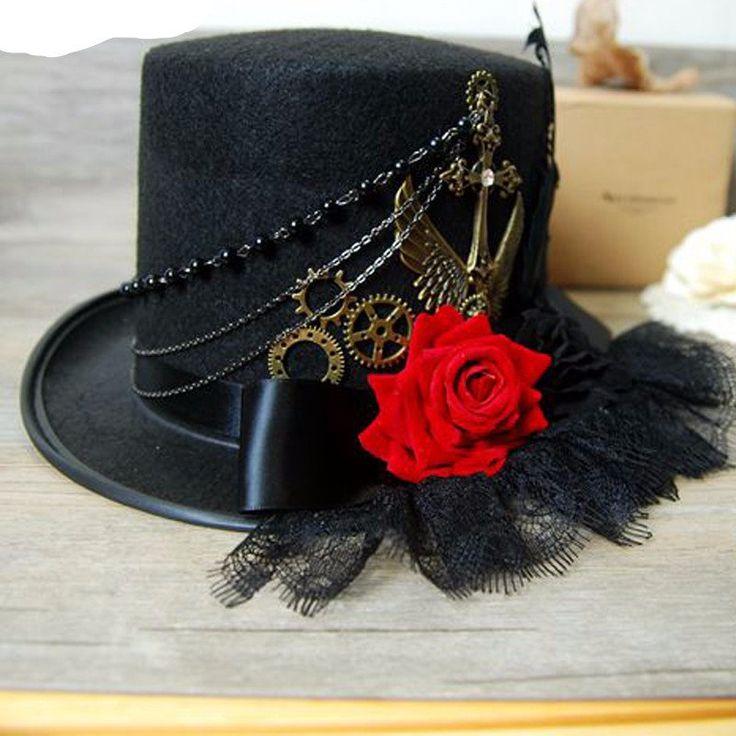 Black Victorian Steampunk Top Hat