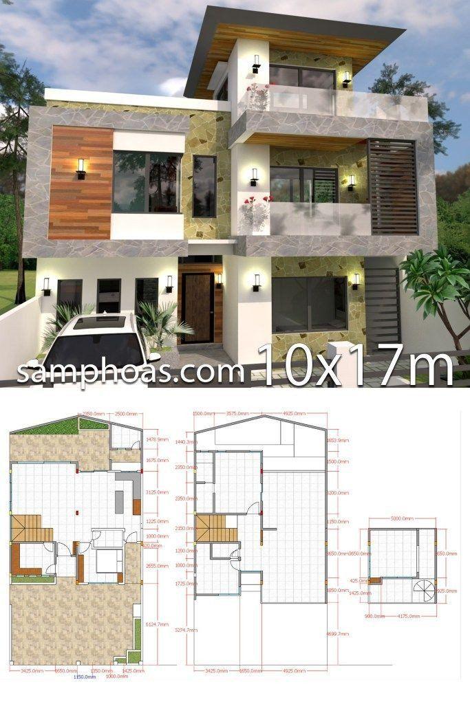 3d Modern House Plans Plan 3d 5bedroom Home Design Plan 10x9m Full Plan House Design Modern Style House Plans Cool House Designs