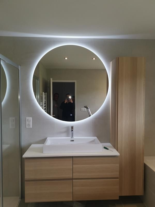 Miroir Lumineux Avec Eclairage Integre L 120 X H 120 Cm Renzo Leroy Merlin Miroir Lumineux Miroir Miroir Led