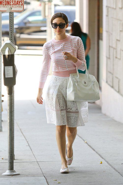 To create an outfit for lunch with friends at the weekend pair a white and pink horizontal striped crew-neck jumper with a white lace full skirt. Dress down your look with white crochet ballet flats.  Shop this look for $126:  http://lookastic.com/women/looks/white-and-pink-crew-neck-sweater-and-white-shopper-handbag-and-white-full-skirt-and-white-ballerina-shoes/1817  — White and Pink Horizontal Striped Crew-neck Sweater  — White Leather Tote Bag  — White Lace Full Skirt  — White Crochet…