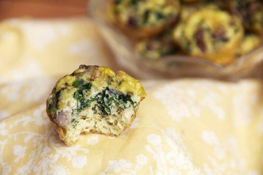 Spinach and Mushroom Crustless Mini Quiches - replace 6 eggs with 12 ...