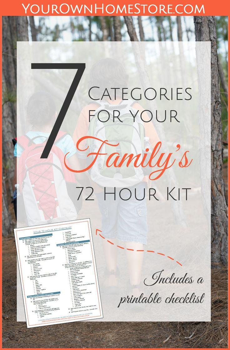 Printable 72 hour kit checklist   72 hour kit for families