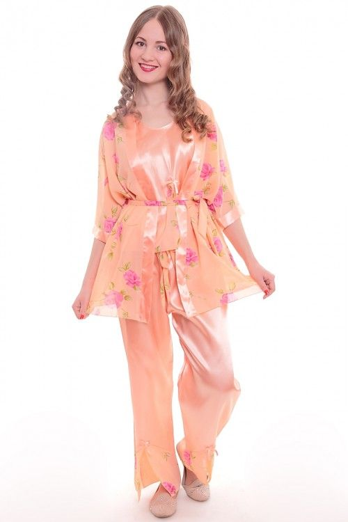 Пижама тройка А3054 Размеры: 44-54 Цвет: персиковый Цена: 450 руб.  http://optom24.ru/pizhama-troyka-a3054/  #одежда #женщинам #пижамы #оптом24