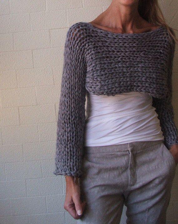 cropped sweater shrug / grey shrug /Stoney / loose knit / Isle Chunky bamboo mix / size medium