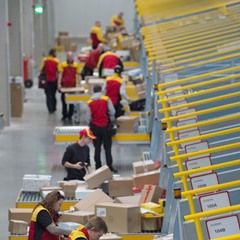 Inside a delivery hub of logistics company Deutsche Post DHL in Dresden, Germany