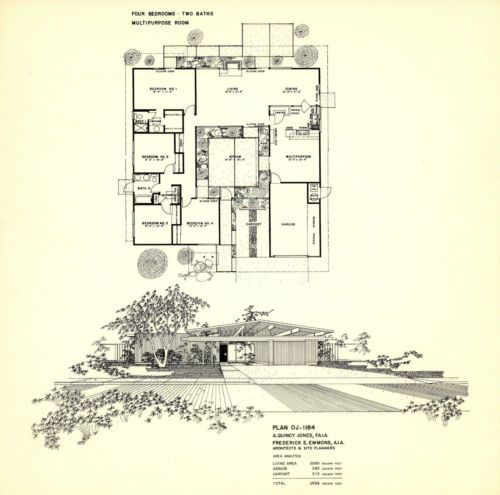 Eichler homes mid century post and beam floorplan poster for Mid century post and beam house plans