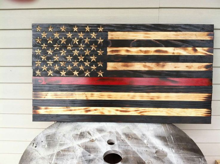 Charred Wood American Flag, Thin Red Line Fire Fighter Flag