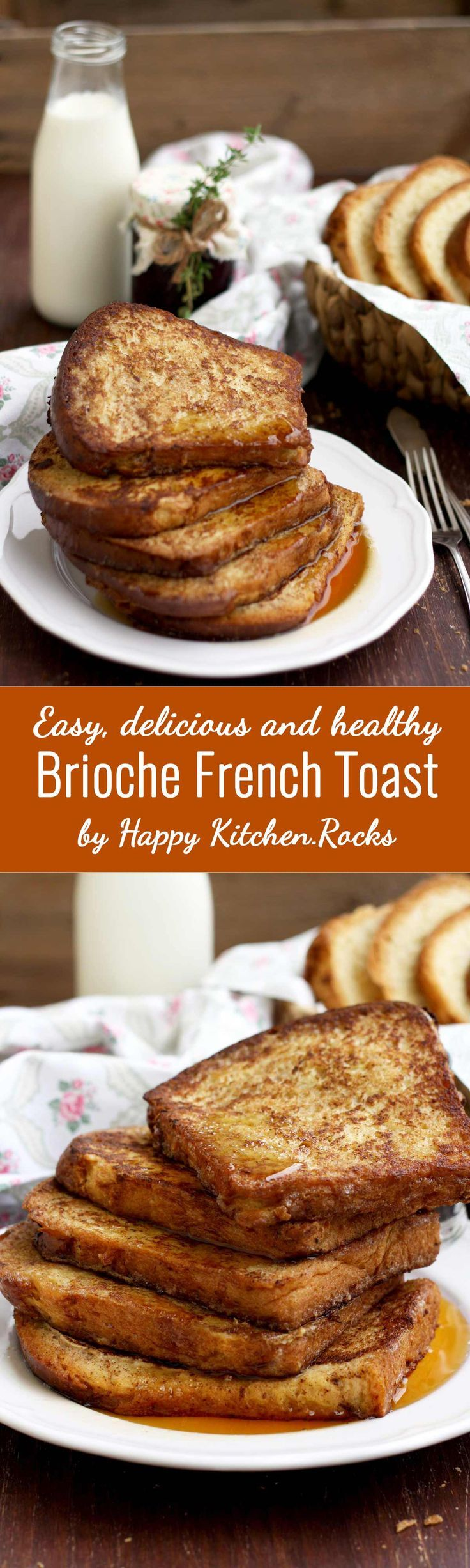This healthy brioche French toast recipe is super easy and quick to make. Delicious and luscious breakfast or brunch idea for holidays or lazy Sundays! Make it for your Christmas brunch and impress everyone!: