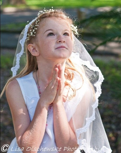 A personal favorite from my Etsy shop https://www.etsy.com/listing/248751300/mantilla-first-communion-veil