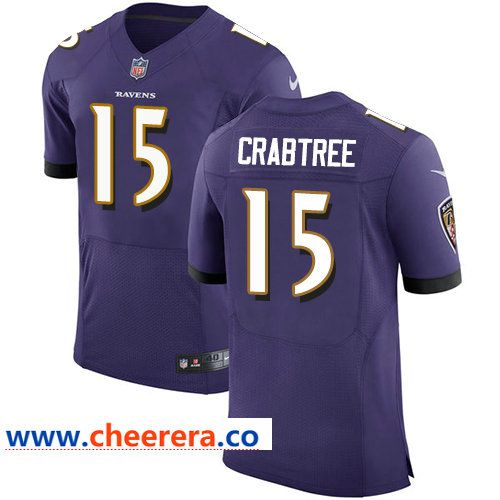Nike Ravens  15 Michael Crabtree Purple Team Color Men s Stitched NFL Elite  Jersey a313be392