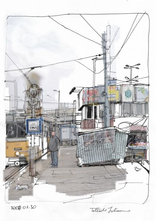 Suburb scene from Budapest, Hungary. A mixed media illustration using photo parts, india ink sketch, and photoshop.