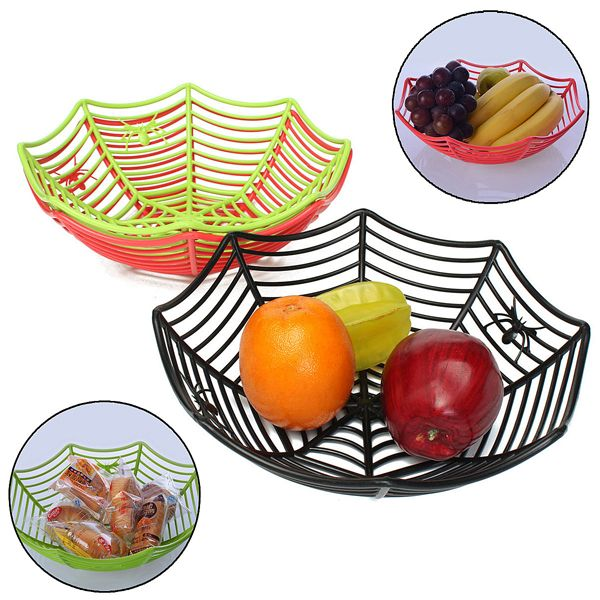 Plastic Spider Web Fruits Candy Basket Spider Web Bowl Halloween Party Decor