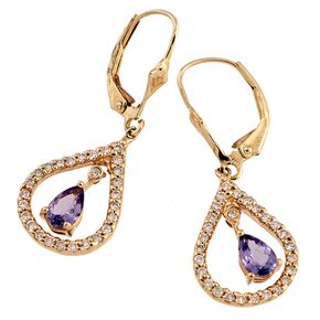 Shop 14KY .75ctw Tanzanite Pear .55ctw Diamond Round Drop Dangle Earrings and other jewelry, art, coins, rugs and real estate at www.aantv.com