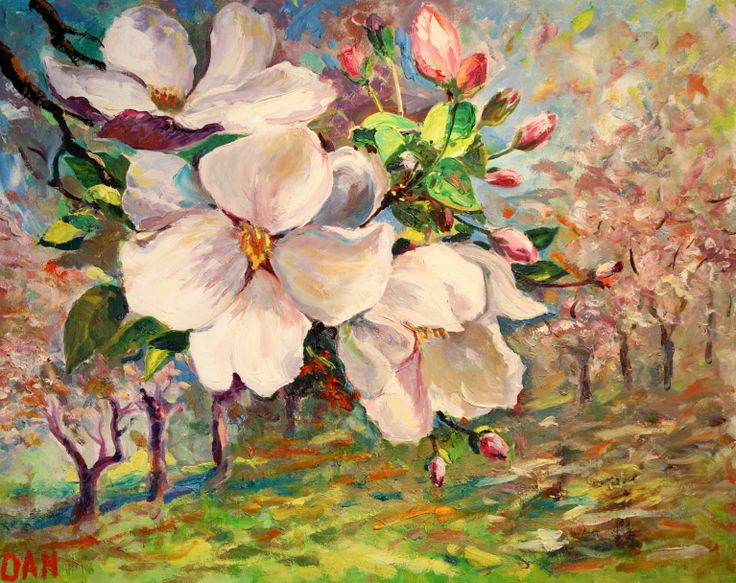 Blooming apple garden oil on canvas 22x28 in