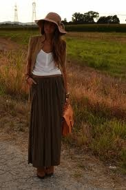brown maxi skirt outfits - Google Search