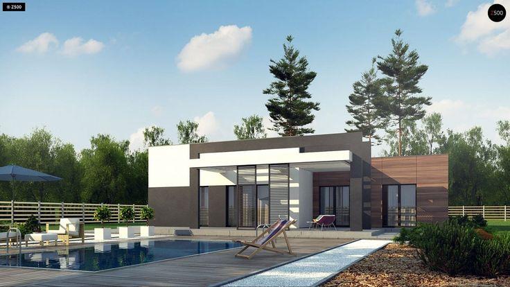Общая площадь 177,9 м² Проект дома Zx78 — типовой одноэтажный дом с гаражом для двух машин с плоской крышей.