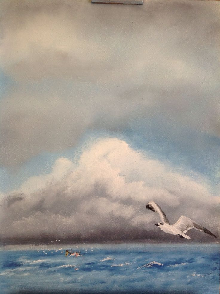 oil on panel Fishing made by Tirza Atsma-Hoornstra