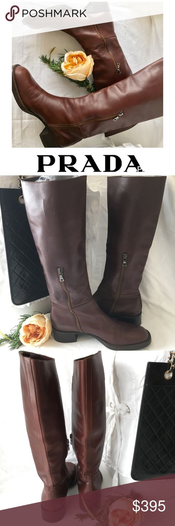 Prada Brown leather riding boots These are authentic Prada riding boots .... they are made of smooth brown leather and in pristine condition. Happy poshing🌷 Prada Shoes Winter & Rain Boots