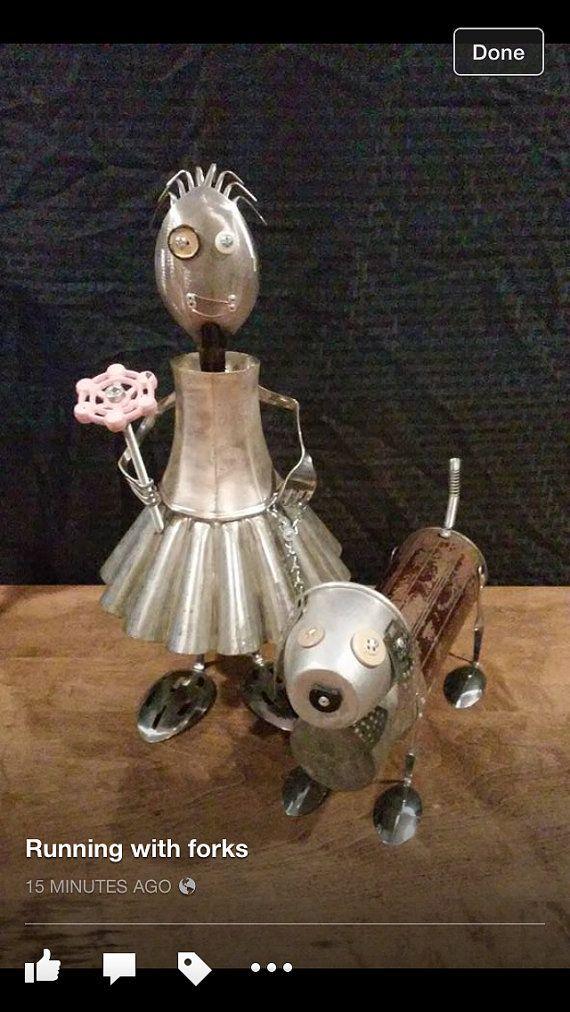 Girl & dog found object sculpture robot by MichaelVivona on Etsy