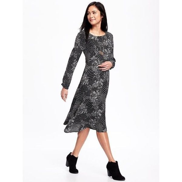 Old Navy Womens Patterned Midi Swing Dress ($15) ❤ liked on Polyvore featuring dresses, black, long sleeve trapeze dress, long-sleeve midi dresses, long sleeve print dress, long sleeve ruched dress and a line dress