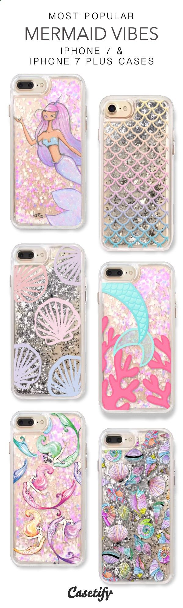 Most Popular Mermaid Vibes iPhone 7 Cases & iPhone 7 Plus Cases. More glitter iPhone case here > www.casetify.com/...