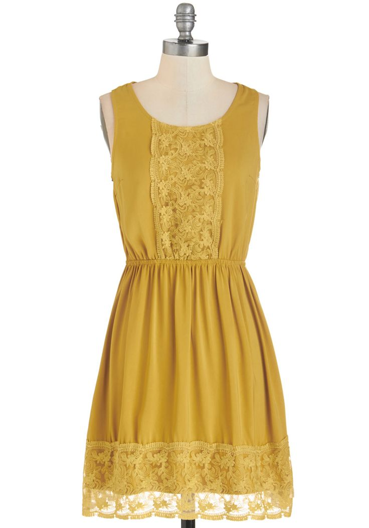 Sweet Thing Dress. This honey-yellow dress is just too cute! #yellow #modcloth