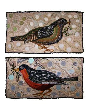 Bird rag rugs by Louisa Creed.  Love how the background looks