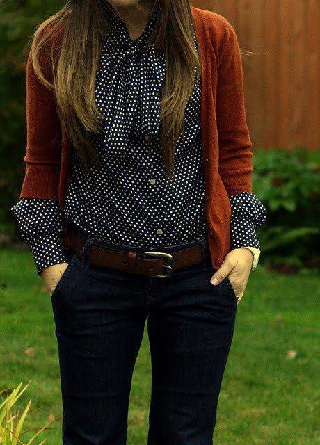 Love the orange cardi over the blue dotted shirt!