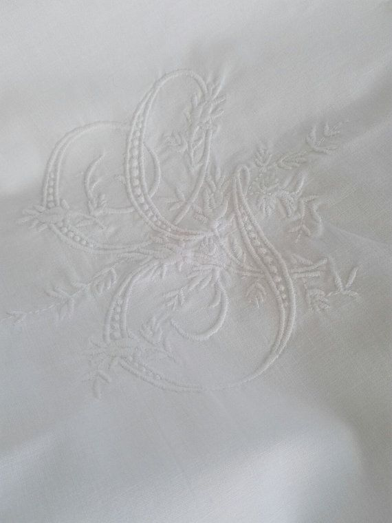 G Monogramed Euro Sham  Pillow Cover ca1940 by GracesAntiquesShop