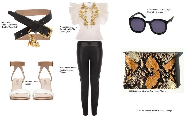 Autumn Style featuring Alexander Mcqueen, Zara, Karen Walker, N.i.N.O design. A combination of leather and silk, black and white, python, gold, neutrals, dragon flys, skulls and ruffles.