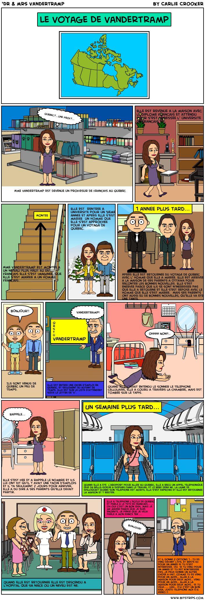 'Dr & mrs Vandertramp - BD de la vie de ces personnages. Les élèves pourraient faire des BDs comme celle-ci avec les verbes du passé composé.
