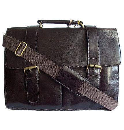 Woodland Leather Retro Dark Brown Leather Messenger Briefcase