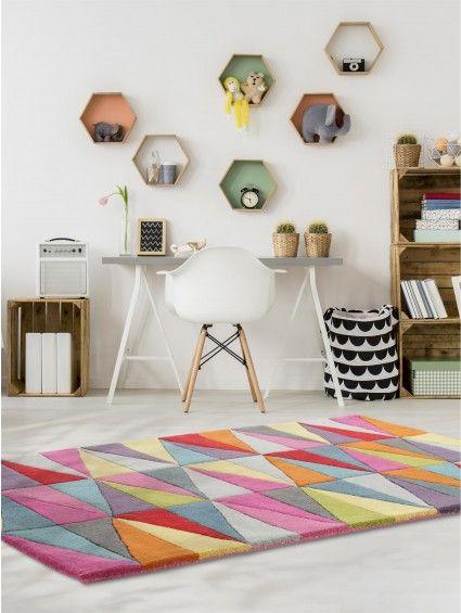 Wollteppich Funk Triangles Multicolor #benuta #teppich #chevron #interior #rug