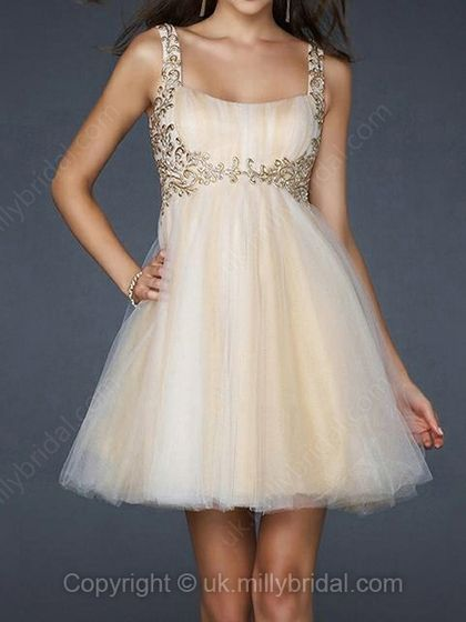 Empire Straps Tulle Short/Mini Appliques Homecoming Dresses -USD$95.37