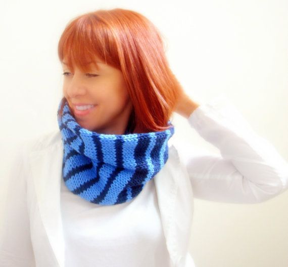 Navy and light blue hand knitted cowl neck warmer collar by Kikoa, €35.00