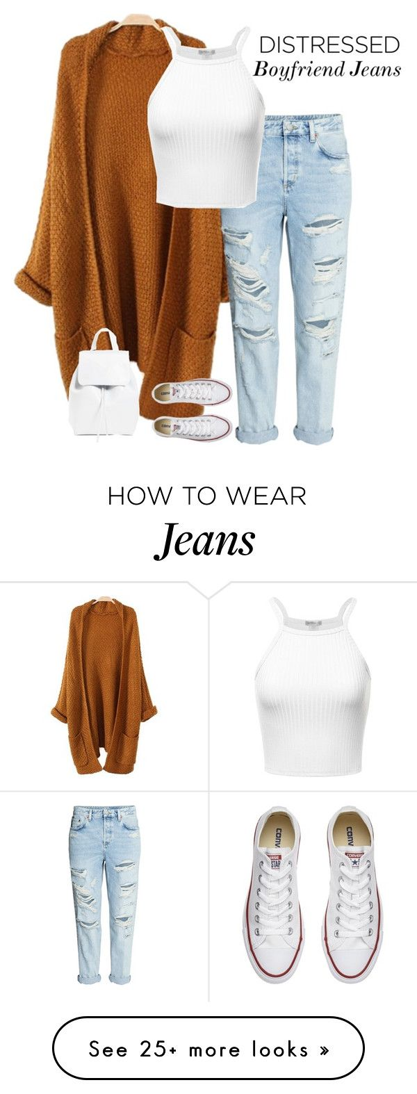 """Boyfriend Destressed Jeans"" by grungepunkprincess on Polyvore featuring Converse and Mansur Gavriel"