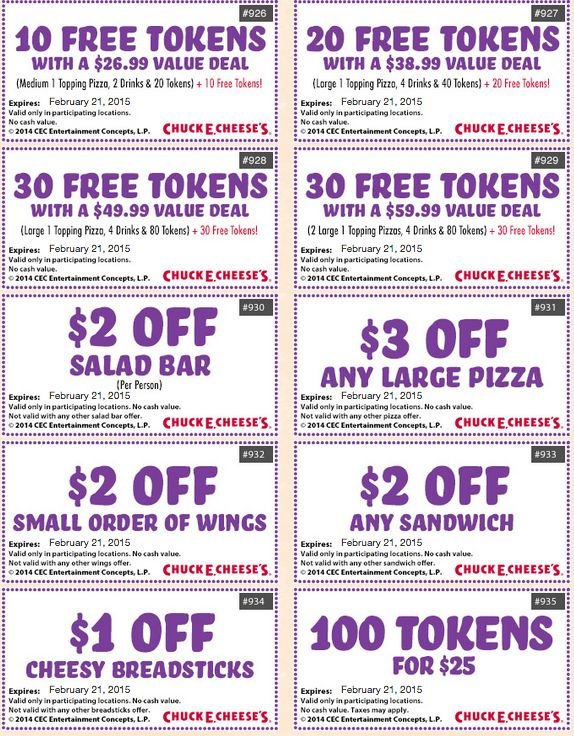 Chuck E Cheese Coupons Printable. 8 Chuck E Cheese Coupons (December) Print or show this Chuck E Cheese Printable Coupons for get 1 medium pizza and 2 drinks for only $, play points for $20 and more.