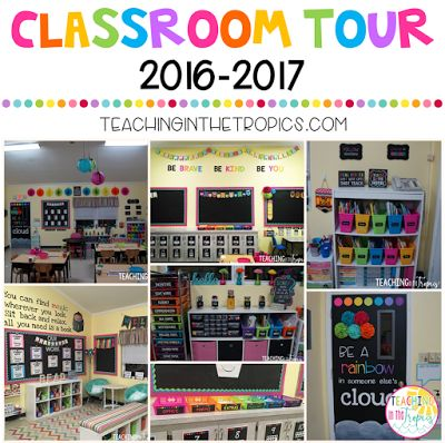 Classroom Tour 2016-2017 Black and Brights/Chalkboard Rainbow Theme!