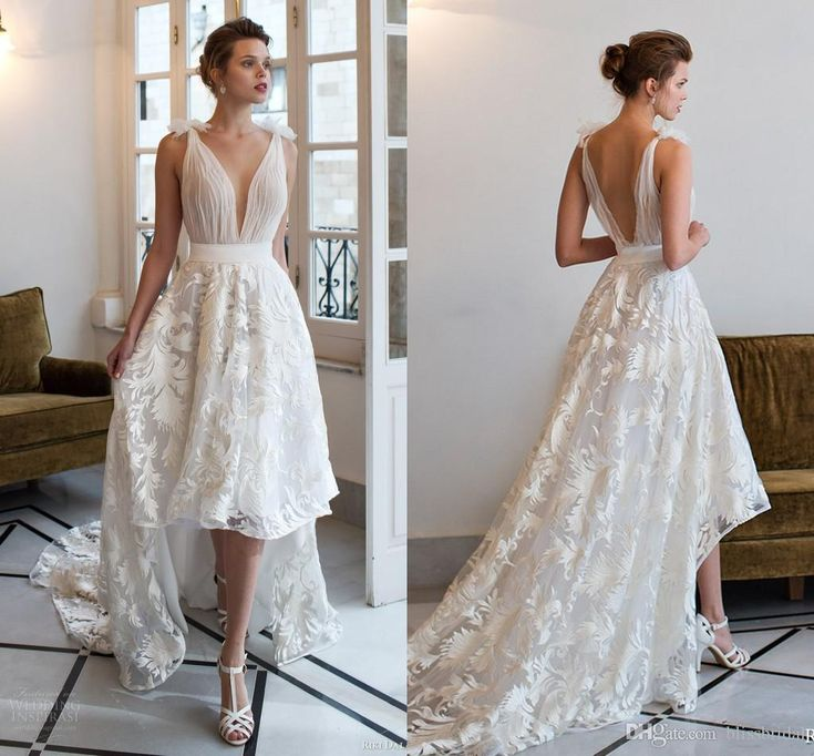 Cheap White Wedding Dresses V Neck Vintage Ruffles Dress Beaded Sweep Train Sexy Stretch Chiffion Custom Made Gown 2016 As Low