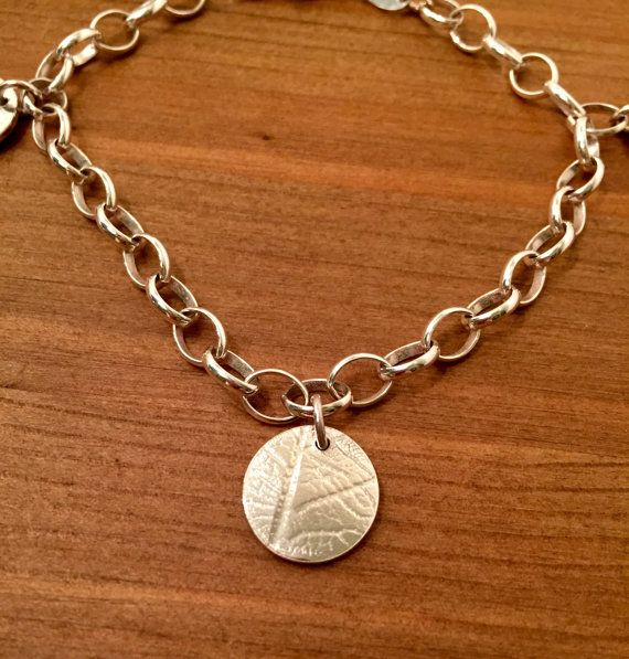 Sterling Silver three disc leaf imprinted by JuliaUsherJewellery