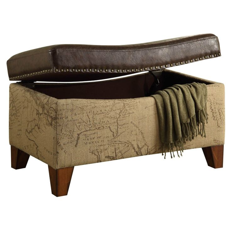 Have to have it. Armen Living Storage Ottoman - Map Jute Fabric with Vintage Brown Bonded Trim - $225 @hayneedle.com