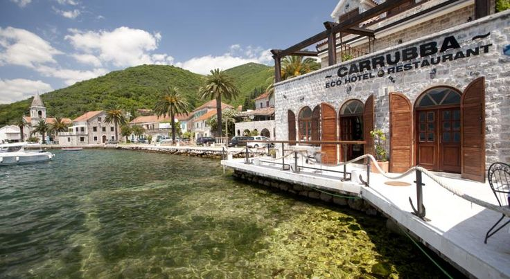 Eco Hotel Carrubba is a waterfront hotel in pretty and atmospheric Donja Lastva. Just a 15 minute walk from Porto Montenegro. #montenegro #tivat