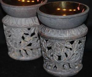 Aromalampe Aromaöllampe Duftlampe Duftöllampe Stein mit Messingeinlage in Schale