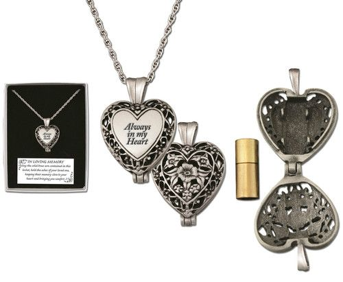 Memorial Locket Necklace Always in My Heart In Loving Memory Ash Urn Inside. This is great for your pets too. www.Gods411.org