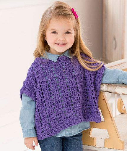 FREE crochet pattern for a Litttle Fashion Poncho by Michele Maks for Red Heart.