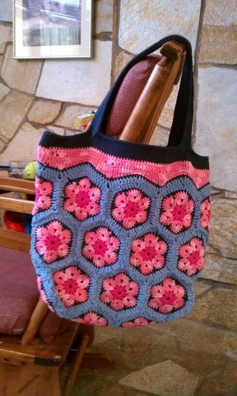 Crochet African Flower tote for DJ :)