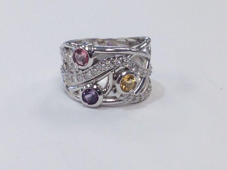 White gold diamond and genuine stone ring www.abrahamsjewellery.com