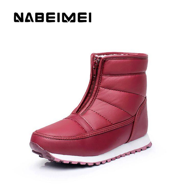 Femmes cheville Bottes de neige 4 couleurs Automne Hiver Chaussures Flock chaud Plus Size Euro Taille 35-42,noir,41