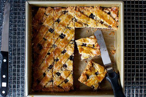 linzer torte, cut into squares by smitten kitchen