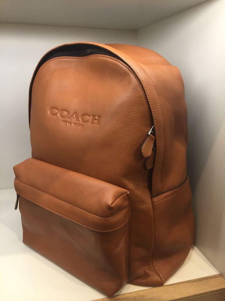 Coach Mens Saddle Leather Backpack Bag Beige #Coach #Backpack